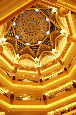 luxus: famous architectural detail of the Emirates palace hall in Abu Dhabi
