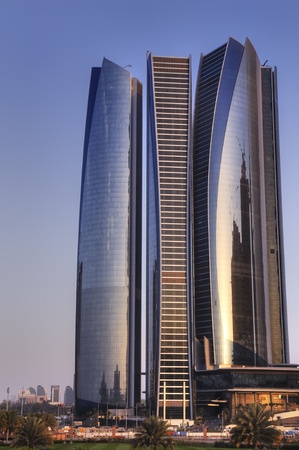 Skyscrapers in Abu Dhabi at dusk, United Arab Emirates Stock Photo - 12790379