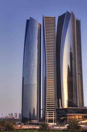 Skyscrapers in Abu Dhabi at dusk, United Arab Emirates Stock Photo - 12790379