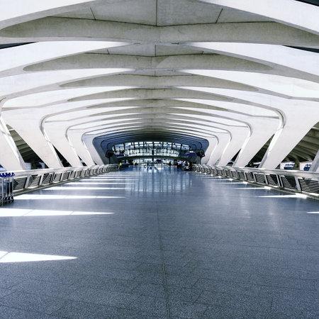 Modern international train and airport terminal