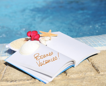 open book with strfish outdoor with swiming pool background Stock Photo - 13012602