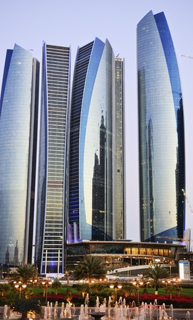 Skyscrapers in Abu Dhabi at dusk, United Arab Emirates Stock Photo - 13162072
