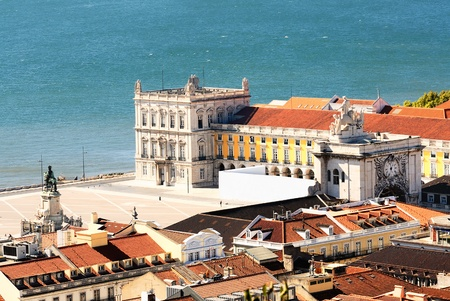 lisboa: view of commerce place in Lisbon, Baixa district near the famous Tage river Stock Photo