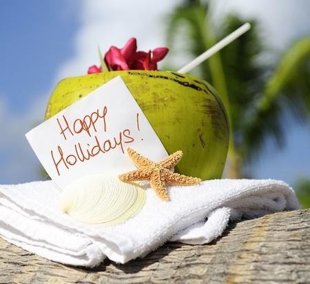 hollidays: Coconut cocktail starfish tropical Caribbean beach refreshment and towel