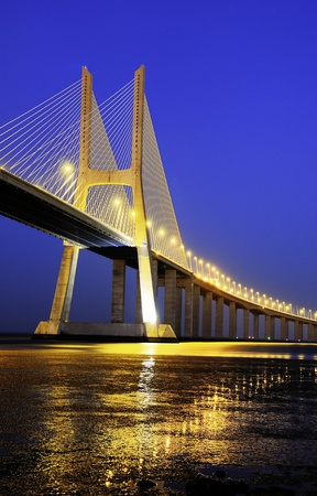 Vasco da Gama bridge is the largest in Europe over the Tagus river Stock Photo