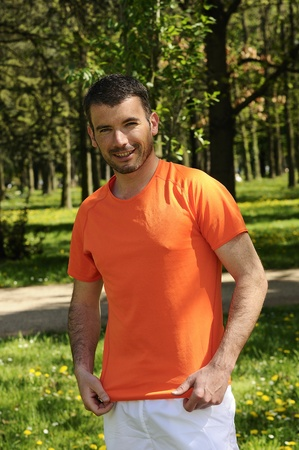 sportive and cheerful man in a natural background Stock Photo - 13452558