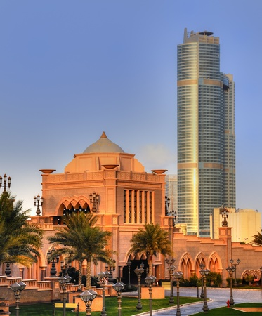 Emirates Palace door at night, Abu Dhabi, United Arab Emirates Editorial