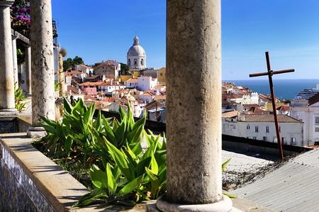 lisboa: Panorama of a old traditional neighborhood in Lisbon