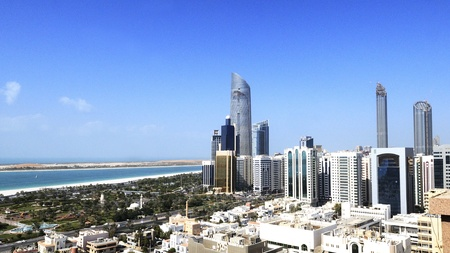 View of Abu Dhabi city, United Arab Emirates by day Stock Photo