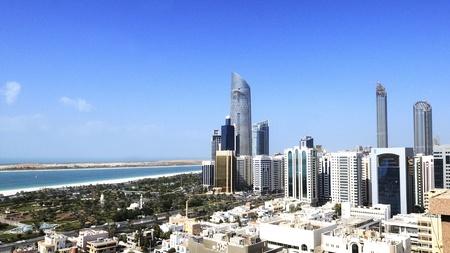 the emirates: Vista de la ciudad de Abu Dhabi, Emiratos �rabes Unidos el d�a Foto de archivo
