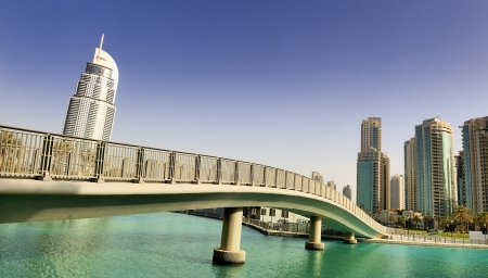 footbridge and architecture in dubai city, United arab Emirates Stock Photo
