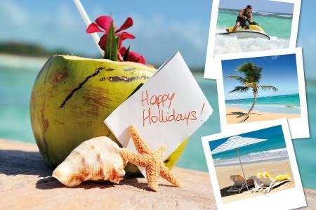 f�tes: Cocktail de noix de coco, �toiles de mer, en plein air avec des photos hlidays
