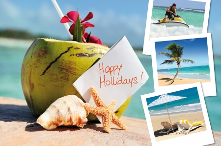 coconuts cocktail, starfish, sea outdoor with hlidays pics photo