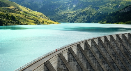 weir: famous Roselend dam in french alps, Savoy, France