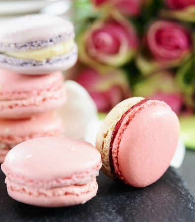 macaroon: shaped macaroons for valentine Stock Photo