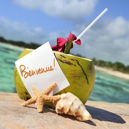 strandlaken: Kokos cocktail zeester tropische Caribische strand verfrissing en een handdoek