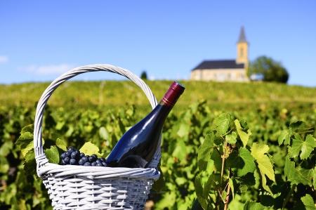 Eine Flasche Rotwein in einem Korb von Gründen in der Nähe eines typischen Kirche