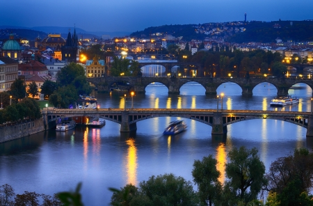 old town square: Prague at night. Czech Republic Stock Photo