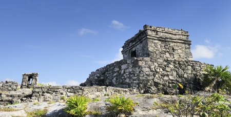 tulum: Famous archaeological ruins of Tulum in Mexico in summer