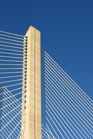 Vasco da Gama bridge is the largest in Europe over the Tagus river Banco de Imagens