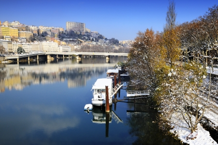 rhone: Lyon city in winter, Rhone river and Croix-rousse district, France
