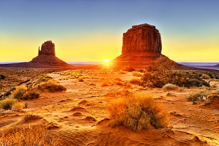 the Monument Valley Tribal Park At Sunrise, Arizona