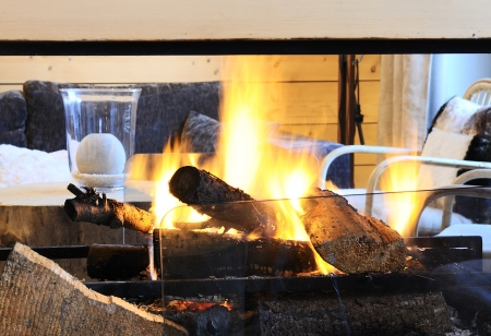 chalets: fire place in a luxury chalet in mountain Stock Photo