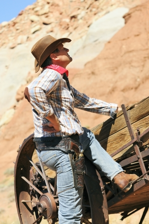 SOUTh WEST - A cowboy takes time to rest and reflect.  photo