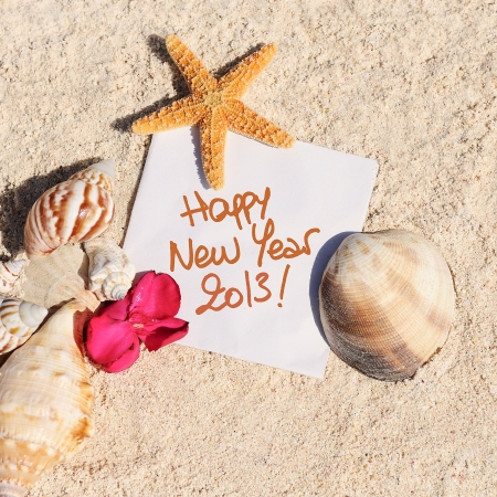 hollidays: blank paper on white sand beach with starfish and shells like summer vacation background Stock Photo