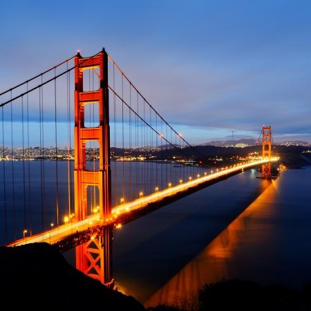 famous Golden Gate Bridge, San Francisco at night, USA photo