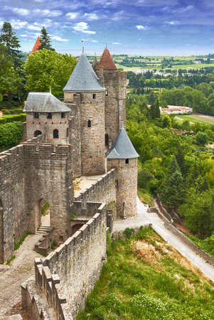 View of fortress Carcassonne  France, Languedoc , river Aude and Old bridge