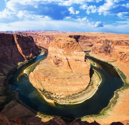 view of famous Horse Shoe Bend at Utah, USA  photo