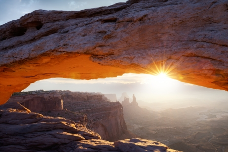 famous Mesa Arch at sunrise, near Moab city, Utah, USA Stock Photo - 19259979