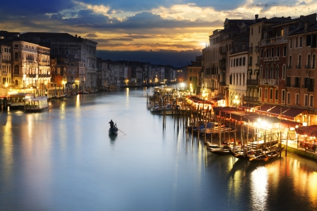 romantic places: famous grand canale from Rialto Bridge at blue hour, Venice, Italy