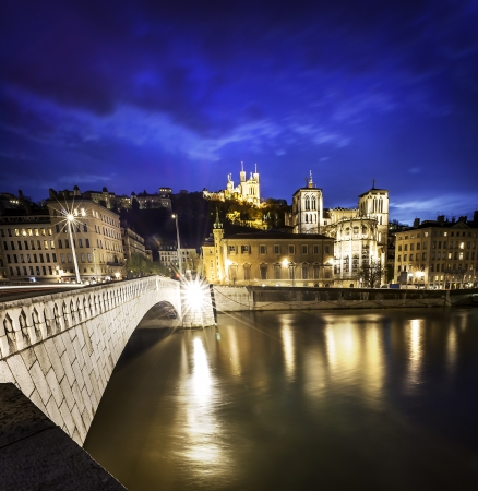 lyon: night view from Lyon city near the Fourviere cathedral and Saône river