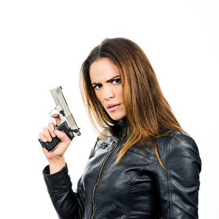 young beauty woman holding handgun Stock Photo - 19750628