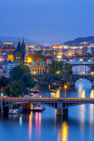 citytrip: Prague at night. Czech Republic Stock Photo