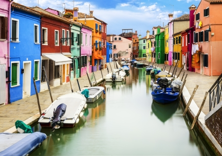multi colors: Colorful buildings in Burano island sunny street, Venise, Italy