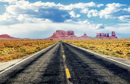 famous road in southwest of america near Monument Valley tribal park, USA