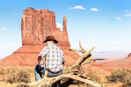 gelding: attractive cow boy in famous Monument valley National tribal park, USA Stock Photo