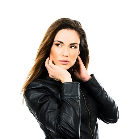pretty young woman with leather jacket photo