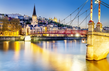 georges: night view from St Georges footbridge in Lyon city with Fourviere cathedral, France