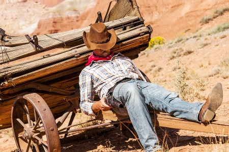 SOUTH WEST - A cowboy takes time to rest and reflect Banco de Imagens - 20996074