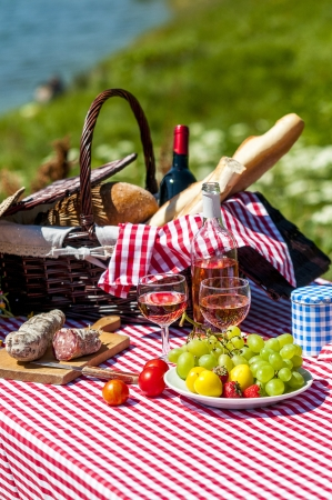 tasted picnic on the grass near a lake photo