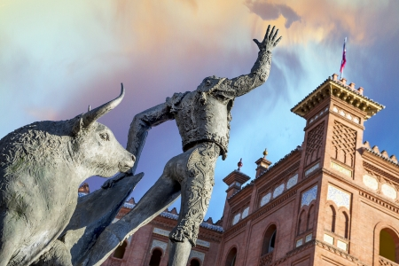 Madrid Landmark. Bullfighter sculpture in front of Bullfighting arena Plaza de Toros de Las Ventas in Madrid, a touristic sightseeing of Spain.