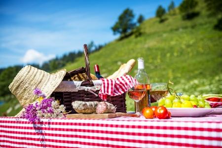 schmeckte Picknick auf dem Rasen in der Nähe eines Sees Lizenzfreie Bilder
