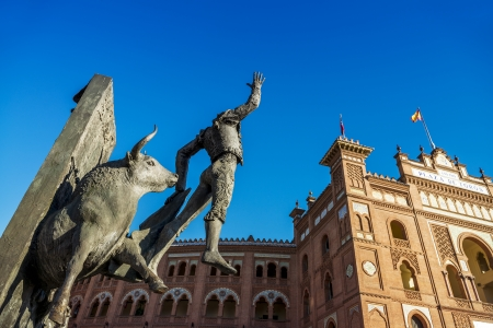 Madrid Landmark  Bullfighter sculpture in front of Bullfighting arena Plaza de Toros de Las Ventas in Madrid, a touristic sightseeing of Spain