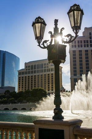 bellagio: Mistical show of fountains in Las Vegas at sunset