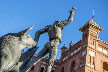 Madrid Landmark  Bullfighter sculpture in front of Bullfighting arena Plaza de Toros de Las Ventas in Madrid, a touristic sightseeing of Spain   photo