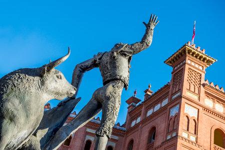 Madrid Landmark  Bullfighter sculpture in front of Bullfighting arena Plaza de Toros de Las Ventas in Madrid, a touristic sightseeing of Spain